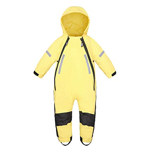 HAPIU Kids Toddler Rain Suit Muddy Buddy Waterproof Coverall,Yellow,5T,Upgraded