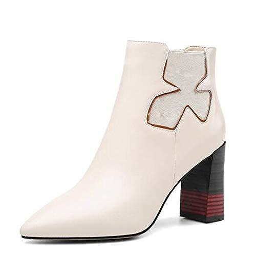 IWxez Damenmode Stiefel Nappa Leder Herbst Stiefel Chunky Heel Toe Closed Toe Heel Stiefelies/Stiefeletten Schwarz/Beige e69fe4