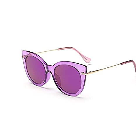 Tocoss (TM) Mode pour femmes surdimensionné œil de chat Lunettes de soleil femme vintage de luxe Design de marque Big Cadre Lunettes de soleil CatEye femelle Oculos UV400, violet