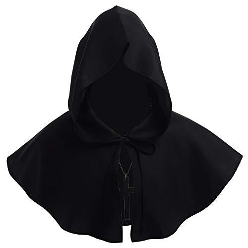 BLESSUME Friar Medieval Hooded Robe Monk Renaissance Priest Robe Halloween Cosplay Costume (Hood Medieval)