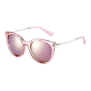 CAXMAN Women's Cat Eye Oversized Fashion Retro Color Mirrored Polarized Sunglasses
