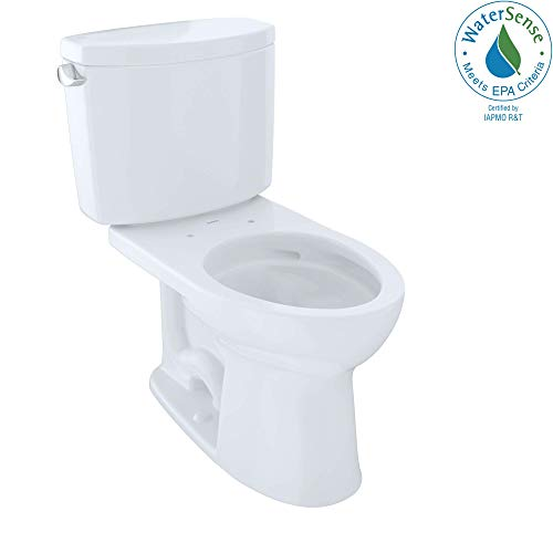 (TOTO CST454CEFG#01 Drake II Two-Piece Elongated 1.28 GPF Universal Height Toilet with CEFIONTECT, Cotton White)