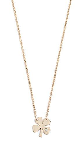Jennifer Zeuner Jewelry Women's Clover Necklace with Diamond, Gold, One (Gold Vermeil Clover)
