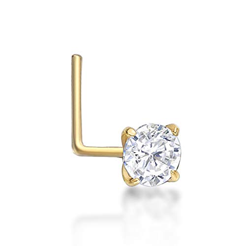 Lavari - 14K Yellow Gold 3mm White Cubic Zirconium Nose Ring L-Shape 22G