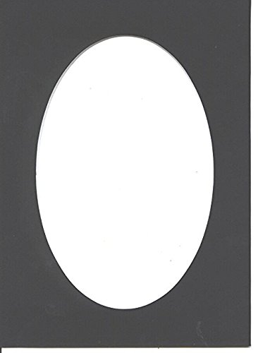 Pack of 5 11x14 Black Picture Mats Oval Opening with White Core, for 8x10 Pictures by Amazon Photo Mats