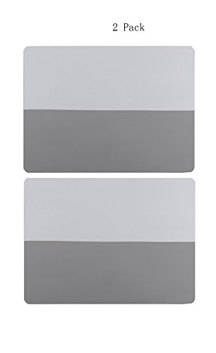 Two-tone Silicone Placemats Non-Slip Heat Insulation Anti-skidding Washable Durable Place Mat Waterproof Baking Mat table Place mat for Kids and Babies,Kitchen Dining,Restaurants (Grey/White-2 Pack) by Nice2co