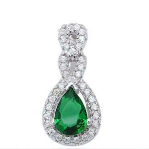 Round & Pear Shape Emerald Fashion 925 Sterling Silver Pendant - Jewelry Accessories Key Chain Bracelet Necklace Pendants