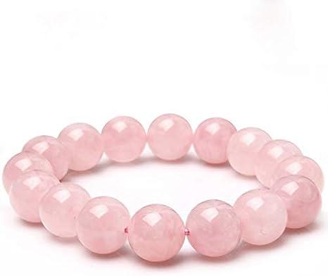 NOBRAND 12Mm Material Natural Energy Stones Pulseras de Cuarzo Rosa Cuentas Redondas Brazalete para Mujer Rosa Joyas de Cristal Regalo de Amor
