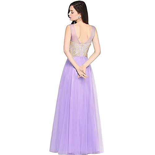 Moda Noche vestido Y Elegante Mujer Malla Mangas Vestido Sin Purple Respaldo Sencilla Para Sexy 40wgxw