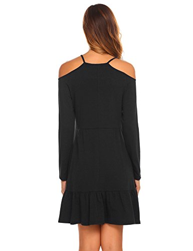 black Women's Slim A Shoulder Dresses Mini Long Shirt T Dress Line Misakia Sleeve Fit 2 Cold X1ZXxH