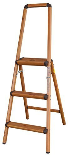 AmeriHome 700374 Lightweight Aluminum Step Ladder, 3 Step, Faux Wood Finish by AmeriHome by Buffalo tools - Kitchen
