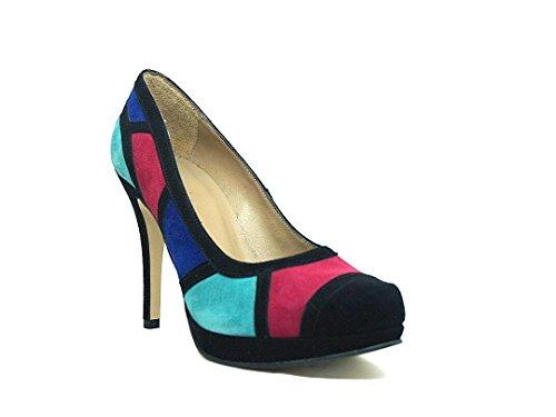 Gennia CULTI-MULTI - Zapatos de Tacón de Aguja con Plataforma con Punta Cerrada para Mujer