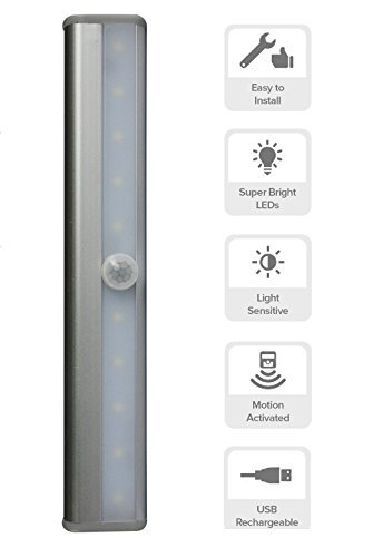 Rechargeable Motion Sensor LED Closet Light, Wireless, Super Bright, Easy to Install, Stick Anywhere! Kids Night Light, Cabinet, Washroom, Stairway, Pantry, Cellar, Attic