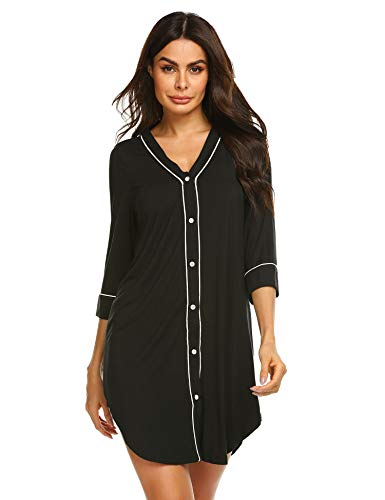 (luxilooks Nightgown Women's 3/4 Sleeve Nightshirt Boyfriend Sleep Shirt Button-up Lapel Collar Sleepwear)