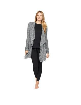 Barefoot Dreams CozyChic Lite Calypso Wrap Heathered Pewter/Pearl  S/M by Barefoot Dreams