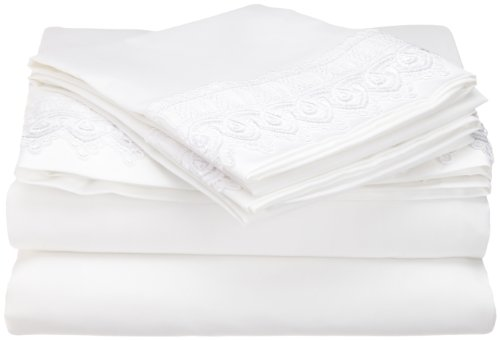 Elegant Venice Lace 3-Piece Twin Size Sheet Set, Constructed of Microfine Twill Weave in Highest Quality, White (3 Piece Lace Trim)
