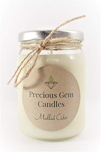 Gemstone Candle - Mulled Cider - Soy Candle with A Gemstone Inside (Surprise Semi-Precious Faceted Gemstone Valued $10-$5,000)