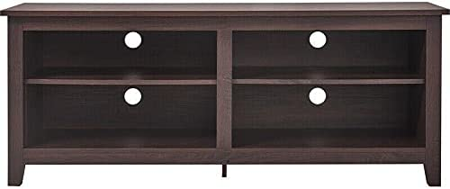 """Wood 60"""" TV Stand Dark Walnut Tv Stand Farmhouse Tv Mount Television Stands Tv Stands Tv Table Apartment Essentials Living Room Furniture Tv & Media Furniture Modern Farmhouse Tv Stand"""