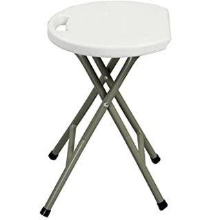 heavy duty light weight metal and white plastic folding stool 400lb capacity