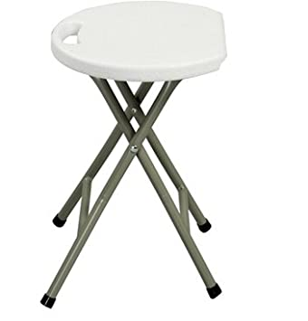 Heavy Duty Light Weight Metal And White Plastic Folding Stool Lb Capacity