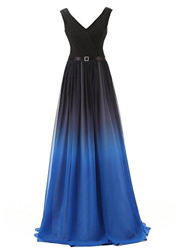(Belle House Women's Chiffon Long V Neck Prom Dresses 2018 Ombre A Line Pleat Formal Evening Gown,341-black & Blue,14)