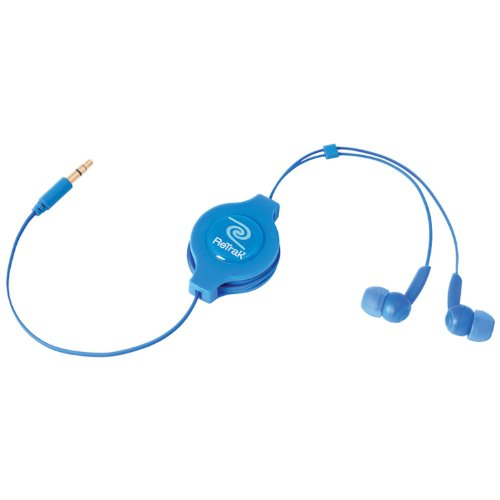 ReTrak Retractable Stereo Earbuds, Blue (ETAUDIOBLU) -