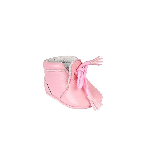 Chaussures en cuir avec lacets décoratifs - bébé fille - rose