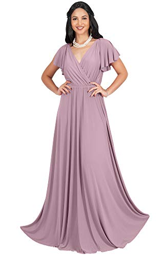 Cocktail Wedding Dress Gown - KOH KOH Plus Size Womens Long V-Neck Sleeveless Flowy Prom Evening Wedding Party Guest Bridesmaid Bridal Formal Cocktail Summer Floor-Length Gown Gowns Maxi Dress Dresses, Dusty Pink XL 14-16