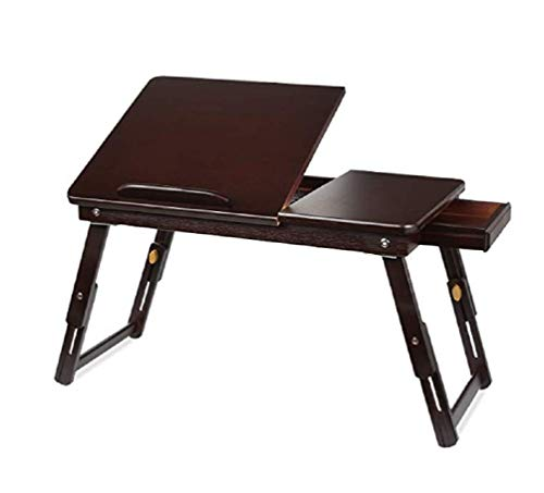 (YaStore Home Bamboo Laptop Bed Desk, Adjustable Portable Breakfast Serving Bed Tray with Tilting Top Drawer Multi-Position Surface -Dark Coffee)