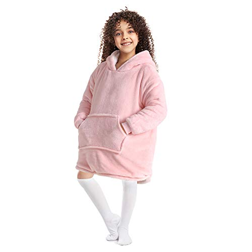 Anjee Oversized Sherpa Hooded Sweatshirt Pink, Super Soft Wearable Blanket Sweatshirt for Kids and Teens, Wearable Hoodie Sweatshirt Blanket with Roomy Front Pocket, One Size Fits All