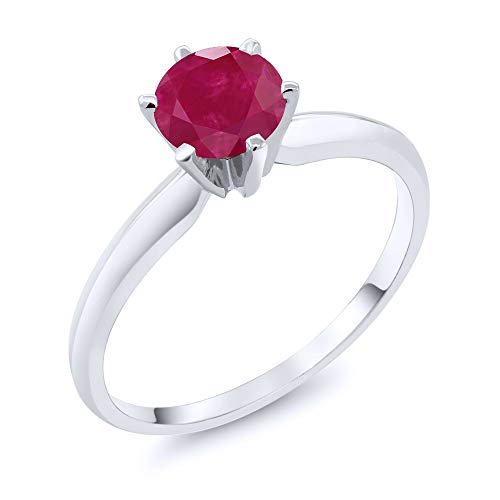Gem Stone King 1.00 Ct Red Ruby 14K White Gold Engagement Solitaire Ring (Size 8)