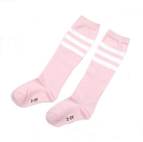 Flyusa 1 Pair Toddlers Children Kids Girls Boys Cotton Bootie Knee High Long Soccer Socks Team Socks for Kids 4-5 Years Old(Pink)