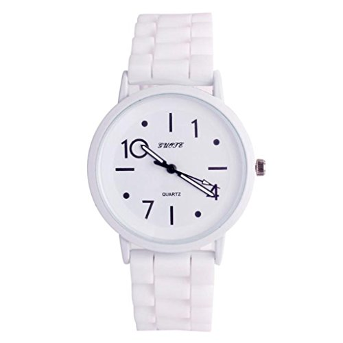 Jelly Sport Wrist Watch (POTO 2017 New Waterproof Women Silicone Rubber Jelly Gel Quartz Casual Sports Wrist Watch Fashion (White))