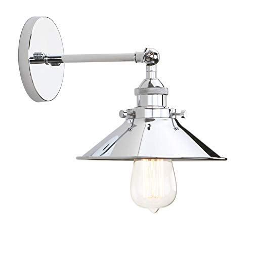 (Permo Vintage Industrial Metal Wall Sconce Lighting 180 Degree Adjustable Wall Lamp (Chrome))