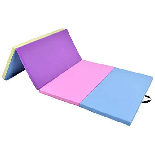 USA_Best_Seller 4′ x 8′ x 2″ Multi-Colors Folding PU Panel Gymnastics Mat Expended Foldable Gym Workout Fitness Foam Thick Tumbling Wedge Slope