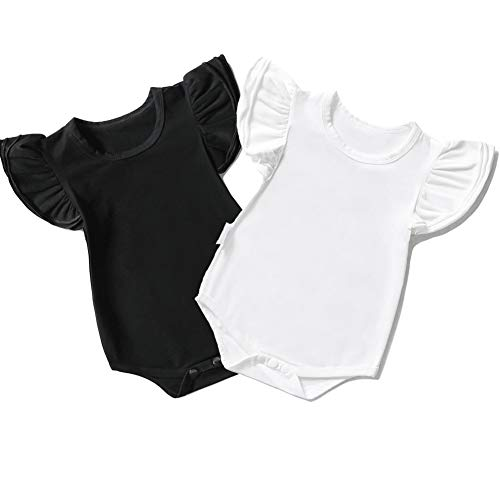 3d6d5b9aa909 Y·J Back home Cute Baby Girls Cotton One Piece Shirt Solid Bodysuit 2 Pack