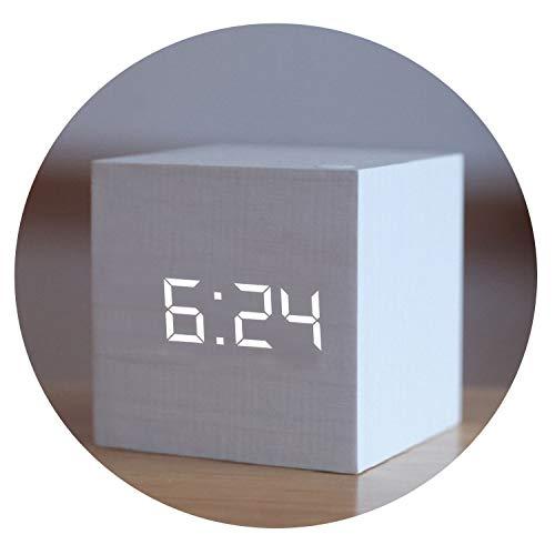 Little lemon 1Pc Voice Control Cube Wooden Clock USB/Battery Digital Desk Alarm Clock Thermometer Timer 6Cmx6Cmx6Cm,J