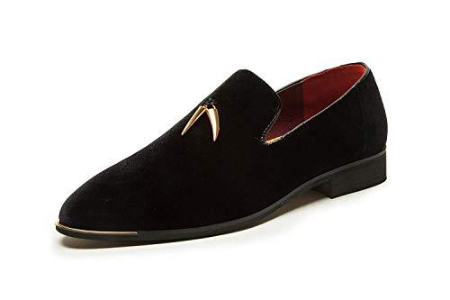 CMM Men's Fashion Shoes Smoker Loafers Metallic Design Slip-On Velvet Wedding Pointed-Toe Black Shoes Plus Size 11.5