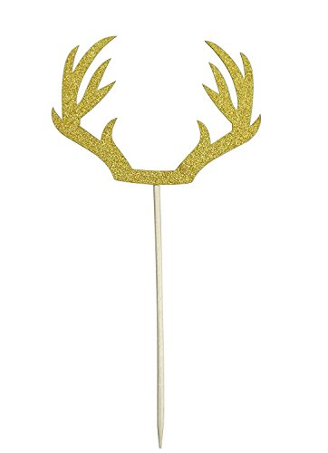 (DIY Gold Deer Antler Cake Cupcake Toppers Picks For Wedding Birthday Baby Shower Party Decorations Supplies, Pack of 12 by SHXSTORE)