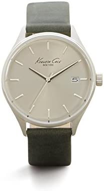 Kenneth Cole New York Men s Classic Quartz Stainless Steel and Green Leather Dress Watch Model 10029308