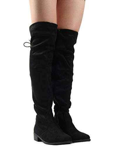 Flat Heel Thigh Boot - LUSTHAVE Women's Knee High Flat Boots Lace Up Cushioned Lining Drawstring Tall Western Riding Boots Black 9