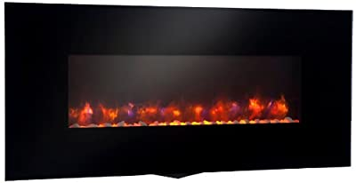 """GreatCo 58"""" Gallery Linear Electric LED Fireplace. Includes LED Backlighting, Heater, IR Remote, 6 ft Cord, Stonefire Media"""