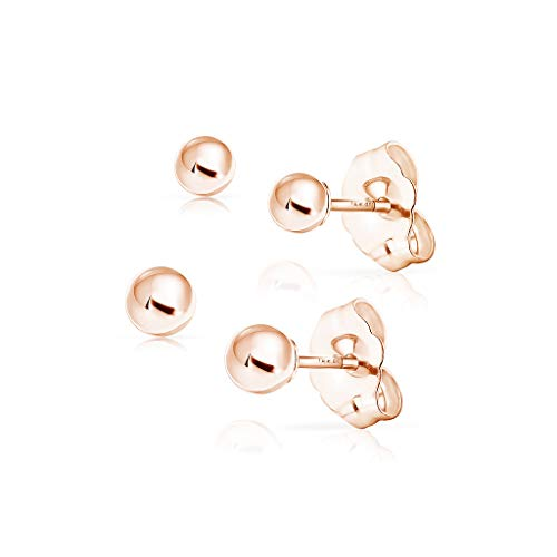 SOLIDGOLD - 14K Gold Filled Dazzling Rose Gold 3mm 4mm Ball Stud Earrings 2 Pair Set 14k Gold Filled Set