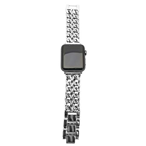 FUNKtional Wearables Double Row Chain Link Apple Watch Compatible Replacement Band - Stainless Steel Strap for All Apple Watch Series and Face Sizes - Wrist Sizes to XL (Silver Crystal, S/M, 38/40mm)