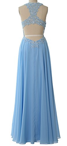 MACloth Elegant High Neck Long Prom Dress Lace Chiffon Formal Party Evening Gown Gold