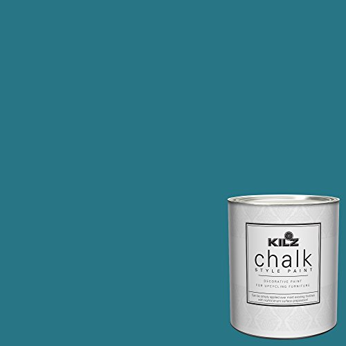 KILZ 00004504 Interior Chalk Style Ultra Flat Decorative Paint for Furniture, 1 Quart, Basic Teal (Best Turquoise Paint Color For Furniture)