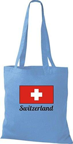 ShirtInStyle Bolso de tela Bolsa de algodón Yute de país Suiza Suiza - fucsia, 38 cm x 42 cm azul claro