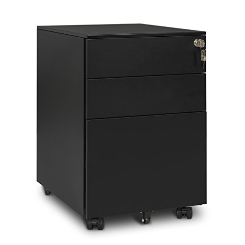 Cheap DEVAISE 3 Drawer Metal File Cabinet with Lock in White/Black (Open from Side – Black)