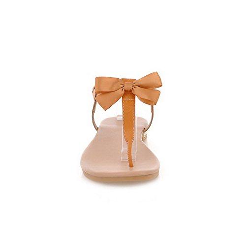 AllhqFashion Womens Oxhide Solid Buckle Split Toe Low-Heels Flip-Flop-Sandals Apricot TKOX9LkX