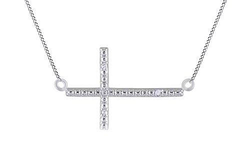 d Accent Sideways Cross Pendant Necklace 14k White Gold Over Sterling Silver (18kt Over Sterling Silver Cross)